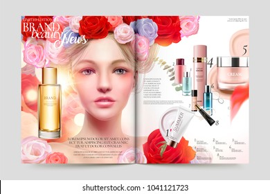 Beauty makeup magazine, attractive woman with roses headwear and recommended products listed in the page, in 3d illustration