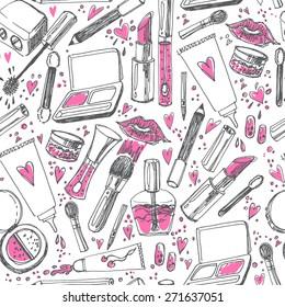 Beauty makeup set seamless fashion pattern background.