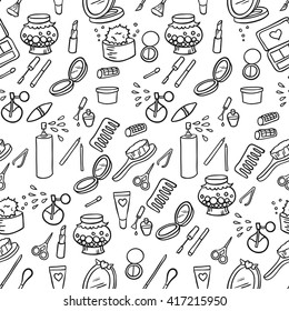 Beauty makeup set seamless fashion pattern background. Vector illustration.