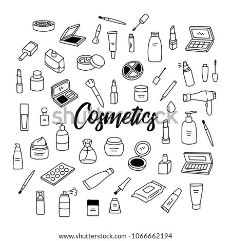 Beauty Makeup Skincare Products Cosmetics Hand Stock Vector Royalty