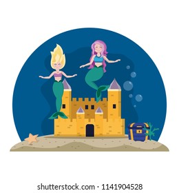 beauty mermaids under water with castle and coffer