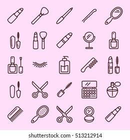 Beauty minimal line icon set