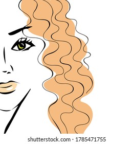 Beauty minimal stylish portrait of a beautiful girl with a curly red long hair. Fashionable laconic female image on white background for logo, icon, print, design. Colorful sketch, hand drawn vector.