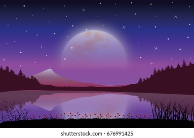 The Beauty of the Moon in Nature , Vector illustrations landscape