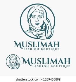 Beauty Moslem Girl Logo
