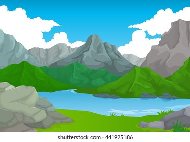 beauty mountain with lake landscape background