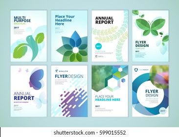 Beauty and natural products brochure cover design and flyer layout templates collection. Vector illustrations for marketing material, ads and magazine, product presentation templates.