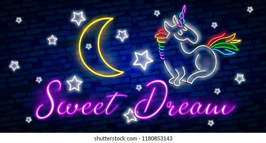 Beauty Neon sign of Unicorn. Neon emblem, bright banner. Advertising design. Night light signboard. Colourful glowing neon unicorn light sign. Layered vector illustration.