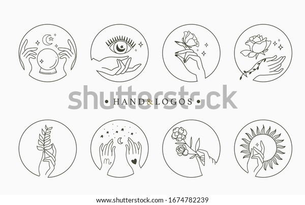 Beauty occult collection with hand,geometric,crystal,moon,eye,star.Vector illustration for icon,sticker,printable and tattoo