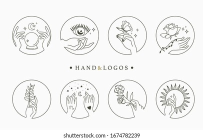 Beauty occult logo collection with hand,geometric,crystal,moon,eye,star.Vector illustration for icon,logo,sticker,printable and tattoo