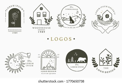 Beauty occult logo collection with hand,heart,flower,house in circle.Vector illustration for icon,logo,sticker,printable and tattoo