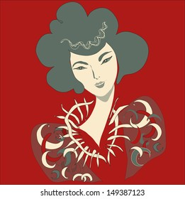 The beauty on a red background.East fantasy beauty. Square vector illustration.