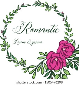Beauty of pink floral frame for template of wedding card romantic. Vector