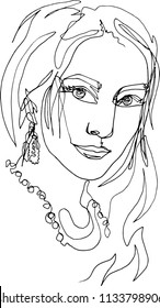 Beauty portrait of a woman close-up face half a turn, earring, sexy confident look, long hair, on the neck ornaments - beads, necklace, illustration of one continuous line.