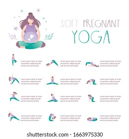 Beauty pregnant woman doing yoga poses. Hatha asanas complex,soft pregnant yoga. Health care and fitness concept. Active female characters. Place for text. Vector illustration
