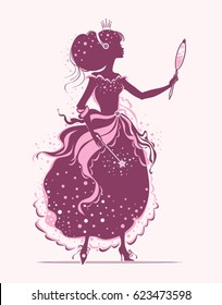 Beauty princess looks at herself in the mirror. Vector silhouette illustration.