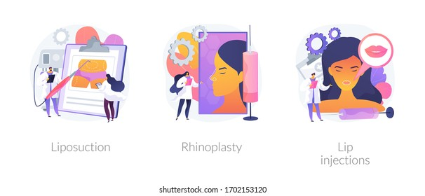 Beauty procedures abstract concept vector illustration set. Liposuction and rhinoplasty, filler lip injection, plastic surgery and body contouring, improve aesthetic appearance abstract metaphor.