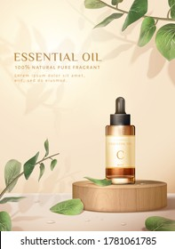 Beauty product ad, concept of natural skincare, dropper bottle mock-up set on wooden block with eucalyptus leaves