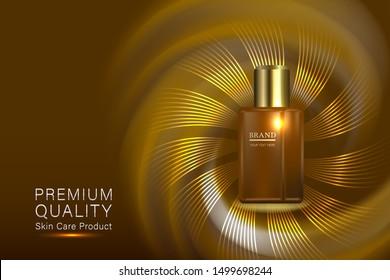 Beauty product ad design, cosmetic container with collagen solution advertising background ready to use, luxury skin care banner, illustration vector.
