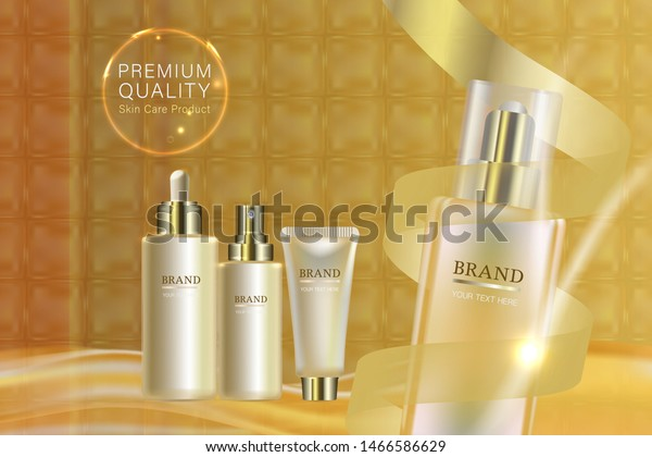 Beauty Product Ad Design Gold Cosmetic Stock Vector Royalty Free 1466586629