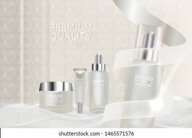Beauty product ad design, white cosmetic containers with collagen solution advertising background ready to use, luxury skin care banner, illustration vector.
