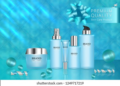Beauty product, blue cosmetic containers with advertising background ready to use, holiday concept skin care ad, illustration vector.