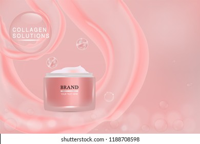 Beauty product, pink cosmetic container with advertising background ready to use, holiday concept skin care ad. illustration vector.