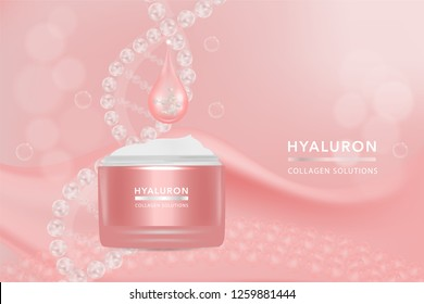 Beauty product, pink cosmetic container with advertising background ready to use, luxury skin care ad. illustration vector.