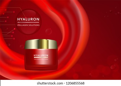 Beauty product, red cosmetic container with advertising background ready to use, luxury skin care ad. illustration vector.