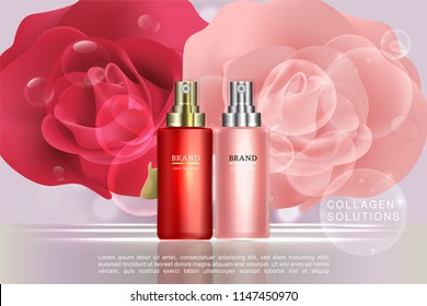 Beauty product, red and pink cosmetic container with advertising background ready to use, roses luxury skin care ad, illustration vector.