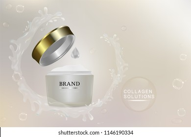 Beauty product, white cosmetic container with advertising background ready to use, water splash luxury skin care ad, illustration vector.