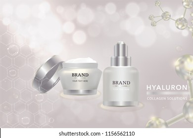 Beauty product, white cosmetic containers with advertising background ready to use, luxury skin care ad, vector illustration.