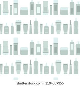 Beauty products gray and blue cosmetic bottles and tubes on white seamless pattern, vector
