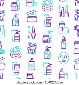Beauty products seamless pattern with thin line icons: skin care, cream, gel, organic cosmetics, make up, soap dispenser, nail care, beauty box, deodorant, face oil, sheet mask. Vector illustration.