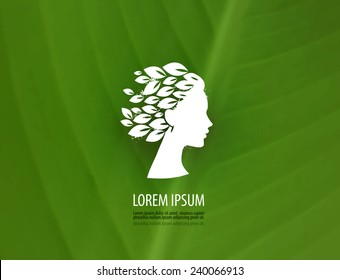 Beauty. Profile of a young girl's head. Logo, icon, symbol, stamp