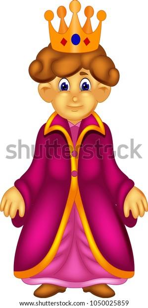 Beauty Queen Cartoon Standing Smile Stock Vector Royalty Free 1050025859