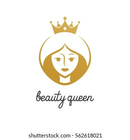 beauty queen with crown logo