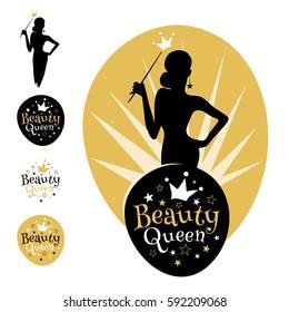 Beauty Queen logo, emblem, stars, crown, women, silhouette. Gold bridal shower Hen Birthday Girl contest lettering sign typography. Lettering design. Vector illustration.