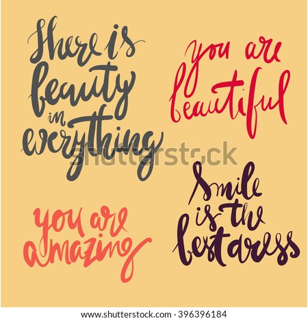 Beauty Quotes Set There Beauty Everything Stock Vector Royalty Free