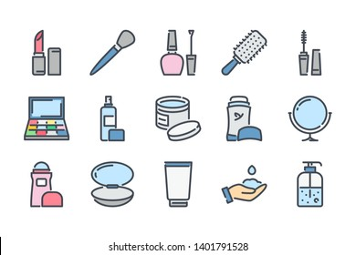 Beauty related color line icon set. Makeup and Cosmetics colorful linear icons. Skin and body care flat color  outline vector signs and symbols collection.