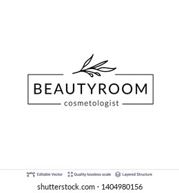 Beauty room or salon cosmetologist logo design. Floral element and text. Editable vector template.