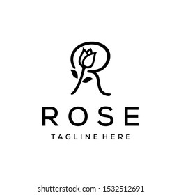 Beauty Rose logo vector logo design template, minimal R sign line petal beauty salon