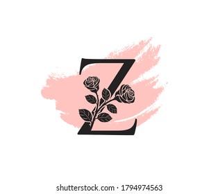 Beauty Rose logo vector logo design template, feminine Z sign line petal beauty salon. Flower Z Letter Icon.