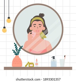 Beauty routine. Face and body skin care concept. Woman looking at herself in the mirror. Attractive girl with various cosmetics and accessories in a bathroom. Hand drawn trendy colored illustration.