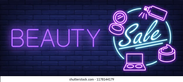 Beauty Sale neon sign. Cosmetics, cream and perfume on brick wall background. Vector illustration in neon style for perfumery and beauty stores