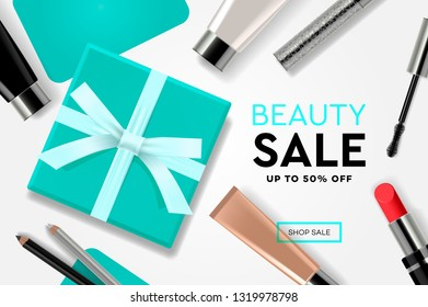 Beauty Sale template with cosmetic products, gift boxes, ads streamers. Modern design vector illustration concept for website and mobile website development.