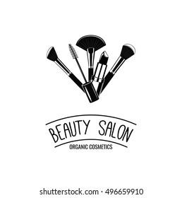 Beauty Salon Badge. Makeup Brushes Logo Vector Illustration