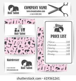 Beauty salon, barbershop vintage business cards and prices design template set. Vector illustration