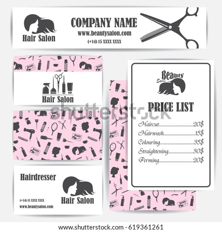 Beauty Salon Barbershop Vintage Business Cards Stock Vector Royalty