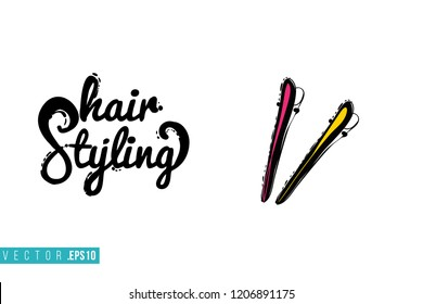 Beauty salon barrette and inscription: hair styling. Promo card with hair dressing tool for beauty store, shop or fashion blog.